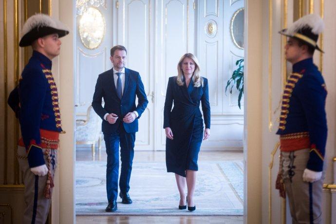 Vítěz slovenských voleb Igor Matovič zOLaNO aprezidentka Zuzana Čaputová. Foto:Vladimír Šimíček, DenníkN