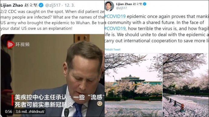 """Obviňování armády USA i""""sdílený osud lidstva"""" na Twitteru Čao Li-ťiena. Nový mluvčí čínské diplomacie má na Twitteru velký dosah, sleduje ho skoro půl milionu uživatelů. Foto:repro Twitter"""