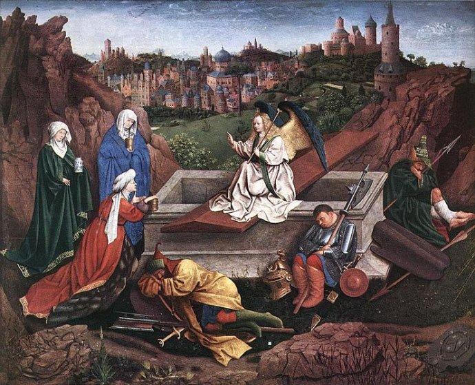 Tři Marie uprázdného hrobu. Hubert van Eyck. Olej na dřevě, vytvořeno mezi lety 1425 až 1435. Zdroj: Museum Boijmans Van Beuningen, Wikimedia Commons