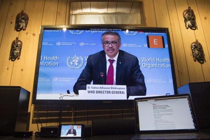 Generální ředitel WHO Tedros Adhanom Ghebreyesus během tiskové videokonference kpandemii covid-19 zŽenevy. Foto:OSN, UN Photo