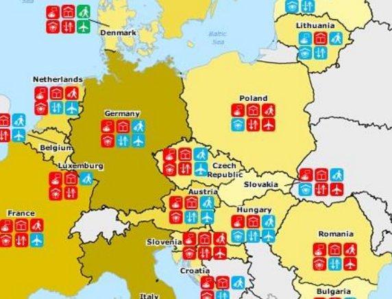 Přehled opatření zemí EU vrámci koronavirové krize. Zdroj: Evropská komise