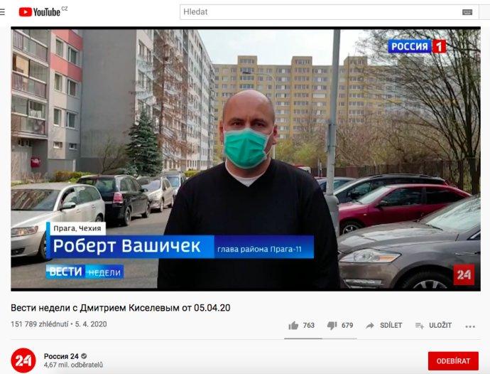 Robert Vašíček ve vysílání Rossija 1. Foto:Repro YouTube