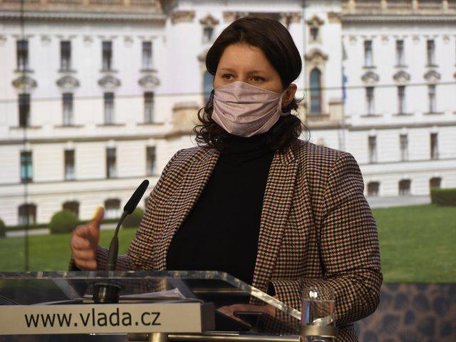 Ministryně práce asociálních věcí na tiskové konferenci po posledním březnovém jednání vlády. Foto:ČTK