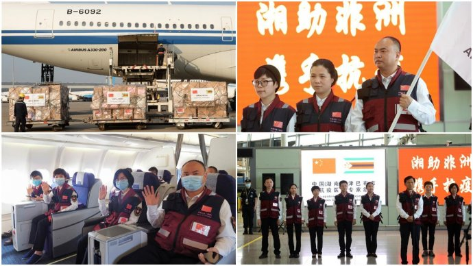 Foto z příletu zdravotníků, ventilátorů, testovacích sad, roušek a respirátorů z Číny do Zimbabwe. Foto: ChinAfrica Magazine