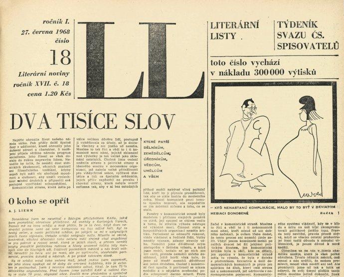 Nejslavnější číslo Literárních novin obsahující prohlášení Dva tisíce slov. Repro: Literární noviny
