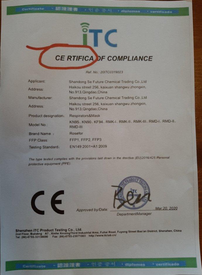 Padělek certifikátu, který měla vystavit čínská laboratoř ITC firmě Shandong Se Future Chemical Trading. Reprodukce: DeníkN