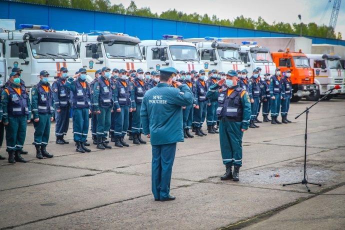 Ihned poté, co byl Dagestán prohlášen za epicentrum nákazy koronavirem vRusku, poslal na severní Kavkaz prezident Putin armádu iministerstvo pro výjimečné situace. Foto: MČS