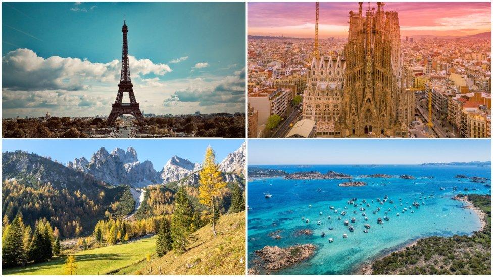 Eiffelova věž vPaříži, Sagrada Família ve španělské Barceloně, Filzmoos vrakouských Alpách aitalská Sardinie. Foto:N. Luong, K. Cheung, D. Anikin aI. Ragozin, Unsplash. Koláž DeníkN