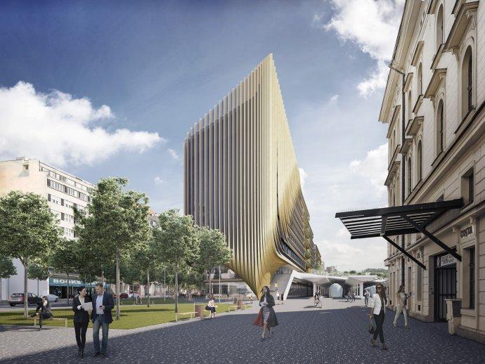 Pohled na budoucí stavby od budovy Masaryková nádraží. Vizualizace: Penta Real Estate