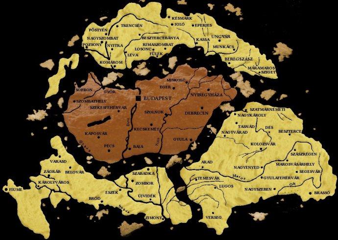 Touto mapou území, které Uhry ztratily po první světové válce, si některá maďarská média ještě dnes připomínají stoleté výročí Trianonské smlouvy.