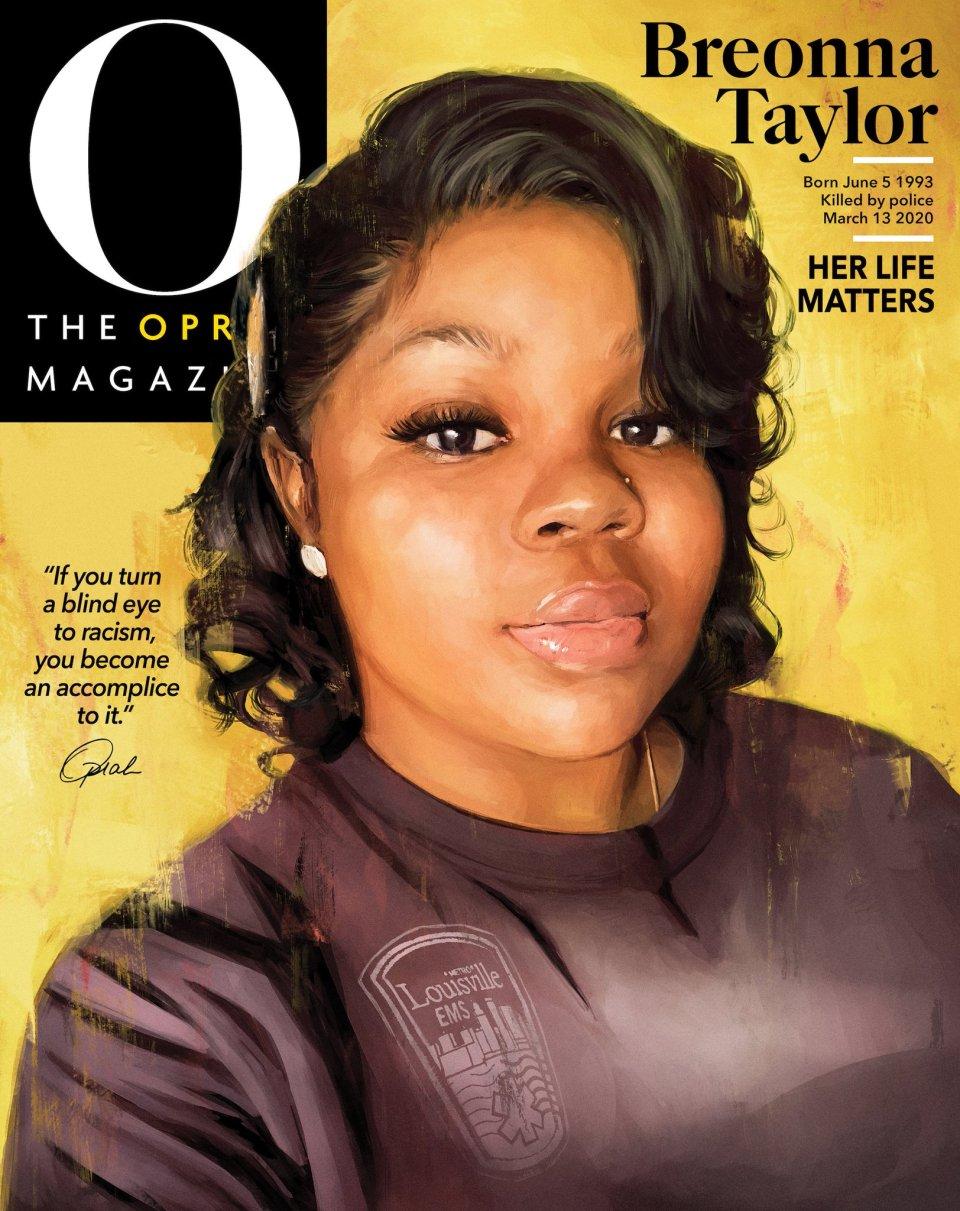"""Bylo to poprvé za dvacet let existence proslulého měsíčníku O, kdy na jeho titulní straně nebyla Oprah Winfreyová. """"Nemůžeme zůstat potichu. Breonno, tahle je pro tebe,"""" napsala Winfreyová vúvodním slově Breonně Taylorové, kterou policie zastřelila omylem vjejím bytě. Foto:OMagazine"""