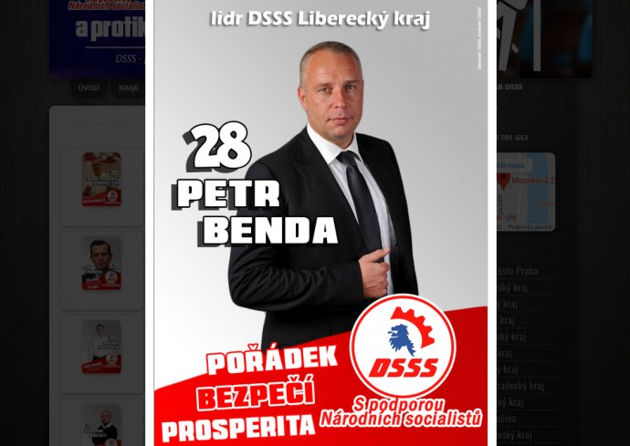 Petr Benda na plakátě DSSS. Foto: Deník N