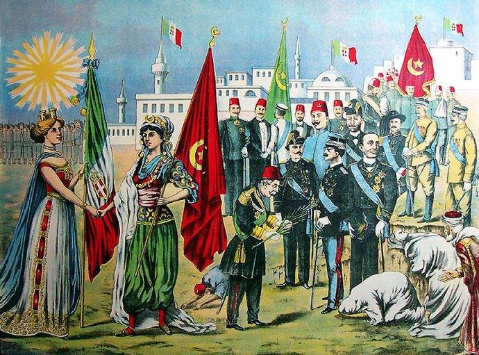 Chromolitografie sjednání italsko-turecké mírové smlouvy, 1912. Zdroj: The Rossotti Litho &Printing Co., Lombardi Historical Collection, public domain