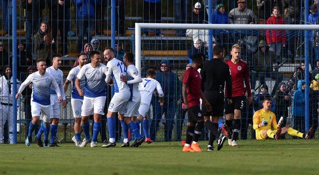 Fotbalisté Polné před dvěma lety v poháru sice Spartě vstřelili gól, ale nakonec prohráli 1:4. Foto: Luboš Pavlíček, ČTK