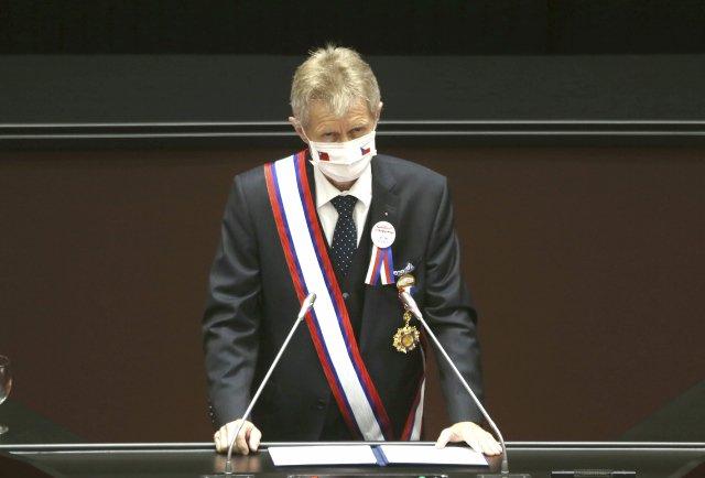 Předseda českého Senátu Miloš Vystrčil (ODS) promlouvá kposlancům tchajwanského parlamentu. Foto:AP/ČTK