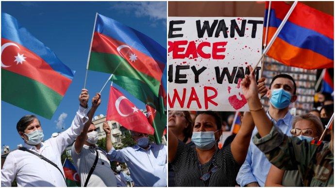 Ázerové aArméni proti sobě kvůli bojům oKarabach protestují ivIstanbulu (vlevo) avLos Angeles. Foto:Murad Sezer aMike Blake, Reuters