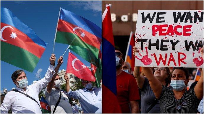 Ázerové a Arméni proti sobě kvůli bojům o Karabach protestují i v Istanbulu (vlevo) a v Los Angeles. Foto: Murad Sezer a Mike Blake, Reuters