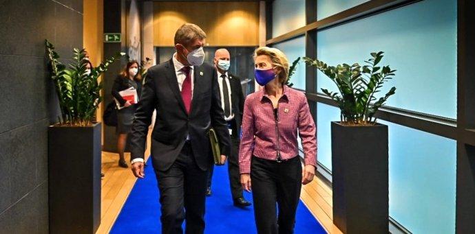 Premiér Andrej Babiš apředsedkyně Evropské komise Ursula von der Leyenová po prvním projednání plánu obnovy loni na podzim. Foto:Facebook Andreje Babiše