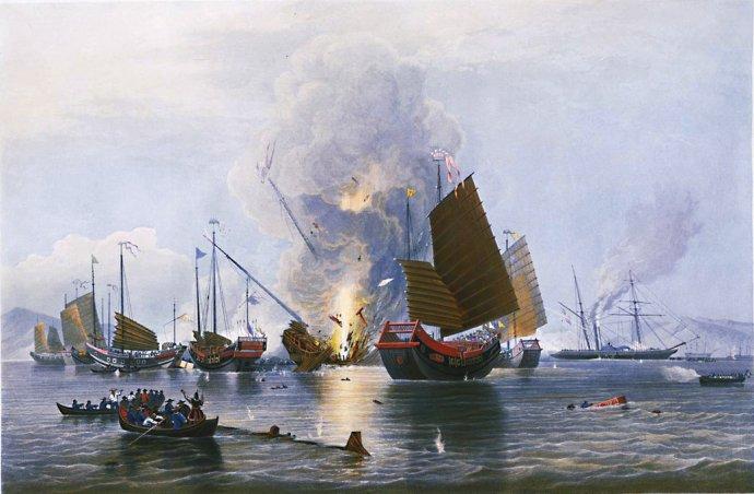Mobilita apalebná síla obrněnce Nemesis se během tzv.První opiové války (též anglo--čínská válka, 1839–1842) stala pro bránící se Číňany naprostou pohromou. Repro: Wikimedia Commons, E. Duncan