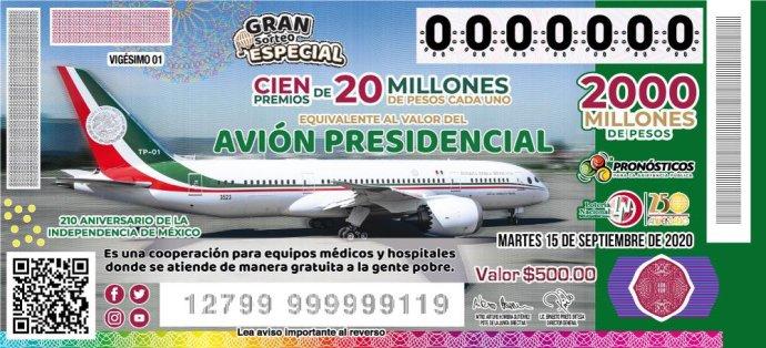 Los mexické státní loterie, vníž je výherní cenou prezidentský Boeing787. Zdroj: mexická vláda, gob.mx
