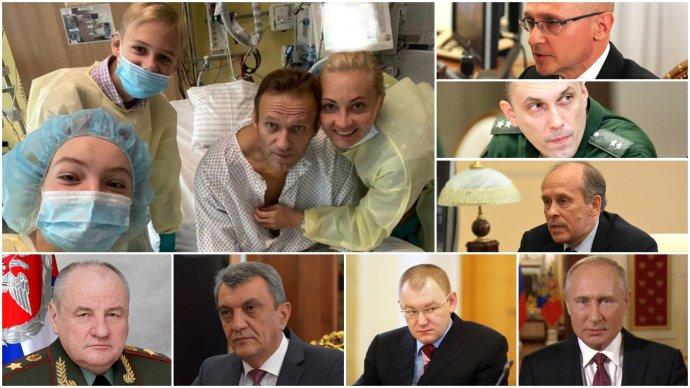 Navalnyj, šest Putinových mužů sankcionovaných za Navalného otravu Evropskou unií (zleva dole Popov, Meňajlo aJarin, vpravo shora Kirijenko, Krivoručko aBortnikov) aVladimir Putin. Koláž DeníkN