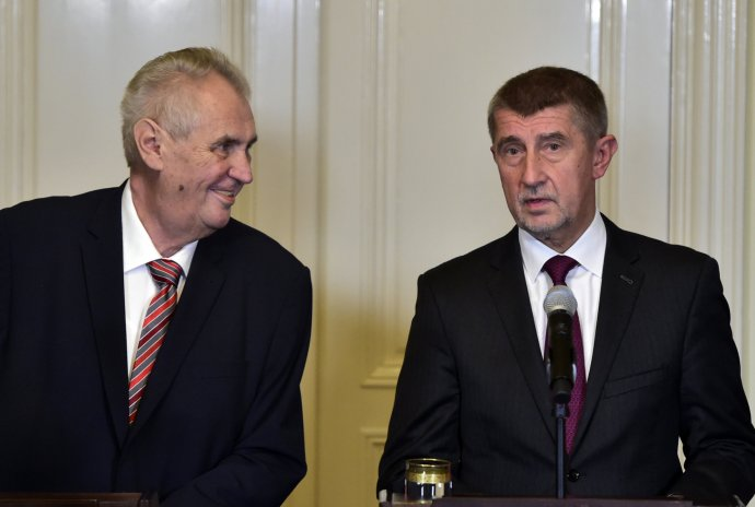Prezident Miloš Zeman spremiérem Andrejem Babišem (ANO). Foto:ČTK