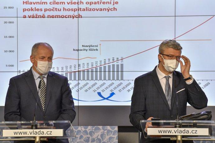 Hlavně nesahejte na nic, očem nevíte, jak to funguje, páni ministři (Roman Prymula aKarel Havlíček). Foto:ČTK