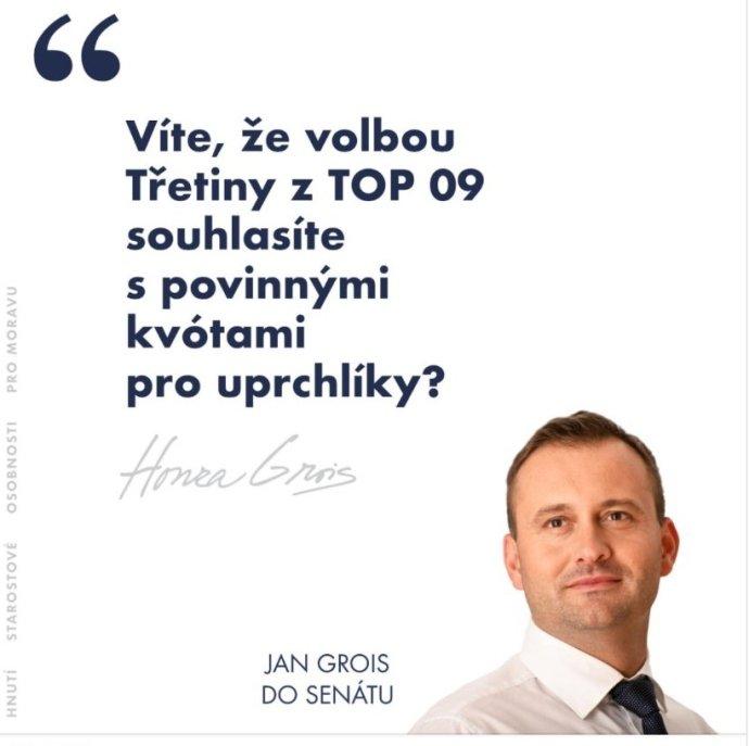 Znojemský starosta Jan Grois (ČSSD aSOM) téma migrace zvedá pravidelně, naposledy sním vyhrál komunální volby. Reprofoto:DeníkN