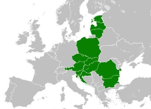 Neformální organizace Trojmoří zahrnuje dvanáct států střední avýchodní Evropy. Mapa: Wikimedia Commons