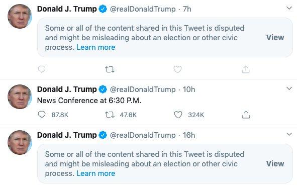 Twitter doprovází některé statusy prezidenta Donalda Trumpa varováním, že jsou manipulativní. Foto:Twitter