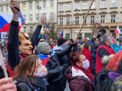Demonstrace na Václavském náměstí během 17.listopadu. Foto:Jakub Zelenka, DeníkN