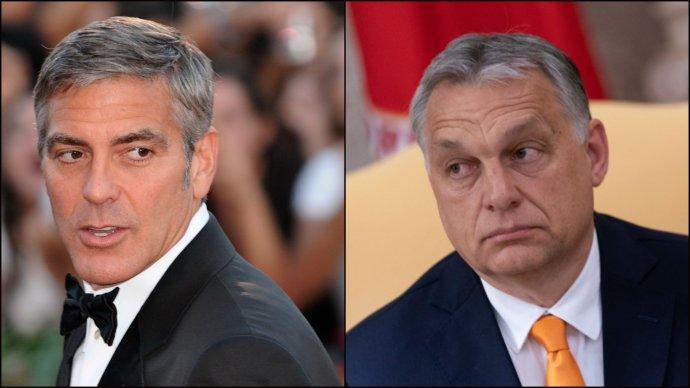"""Na maďarském internetu už se objevují ironické rady Orbánovi, jak má Clooneyho ve své příští billboardové kampani """"zastavit"""". Třeba varováním """"Vykrádal kasina!"""" Foto:Nicholas Génin, Wikimedia CC BY-SA 2.0, ČTK, koláž DeníkN"""