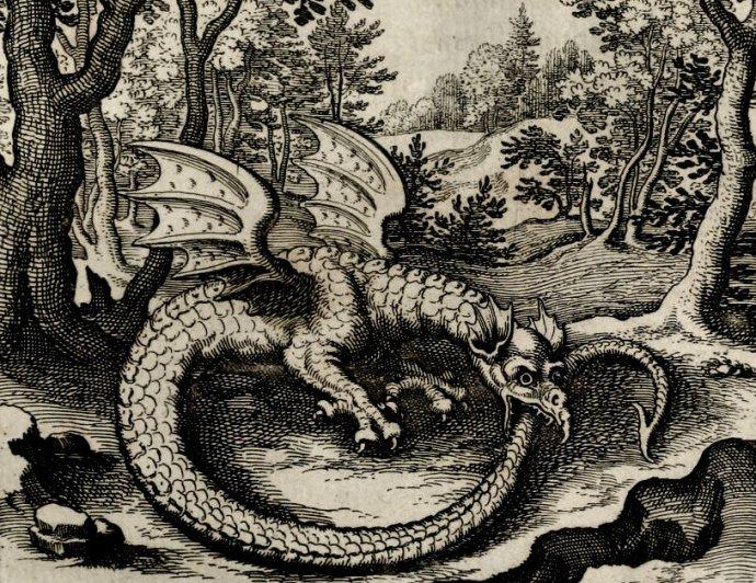 Západ, podobající se bájnému draku Uroborovi zakousnutému do vlastního ocasu, se bojí radikálně rozseknout zatuhlý kruh času, protože tam vepředu je příliš mnoho neznámého. Repro rytiny Lucase Jennise (1590–1630).