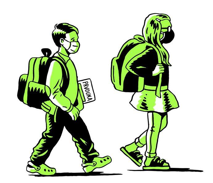 Do škol se vracejí žáci prvních adruhých tříd. Kresba: Petr Polák pro DeníkN
