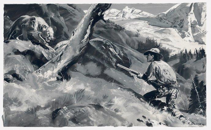 Ilustrace k románu Poslední náčelník, který vycházel v Dobrodružném světě v letech 1932-33. Repro: Kniha Zlín.