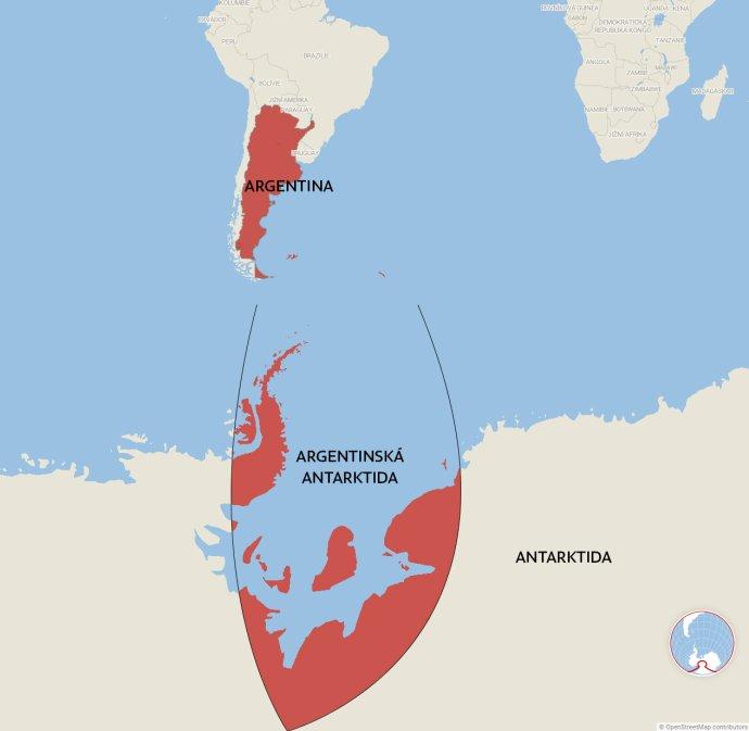 """Kontroverzní mapa Argentiny: území země vLatinské Americe plus jí nárokované území vAntarktidě, takzvaná Argentinská Antarktida. Měřítko mapy je ale ovlivněné projekcí; ve skutečnosti antarktická výseč """"rozšiřuje"""" současné argentinské území na jihoamerické pevnině otřetinu. Mapa: DeníkN"""
