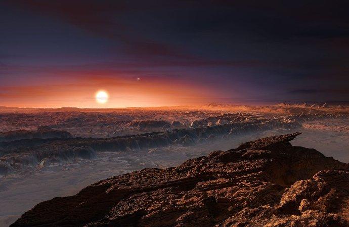 Takhle by to mohlo vypadat na planetě, která obíhá kolem hvězdy Proxima Centauri. Anebo také nějak úplně jinak, jistá je jen ta rudá barva oblohy. Kresba: ESO / M. Kornmesser