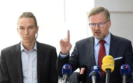 """Ivan Bartoš aPetr Fiala, zastánce všeho, co je """"trendy"""", aobránce """"staré dobré ideologické politiky"""". Foto:ČTK"""