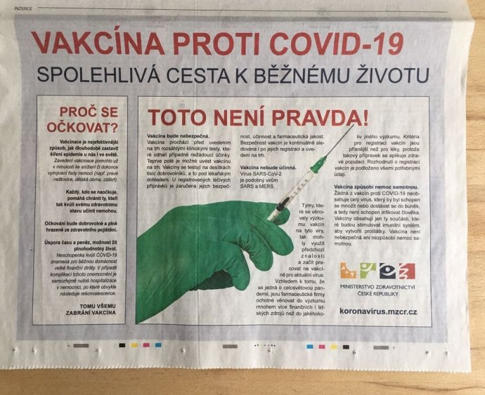 Inzerát ministerstva zdravotnictví ve středeční MF Dnes. Foto:Prokop Vodrážka, DeníkN