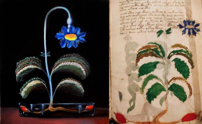 Vlevo olej na plátně od Klary Sedlo, vpravo renesanční předloha z původního rukopisu. Repro: Klara Sedlo