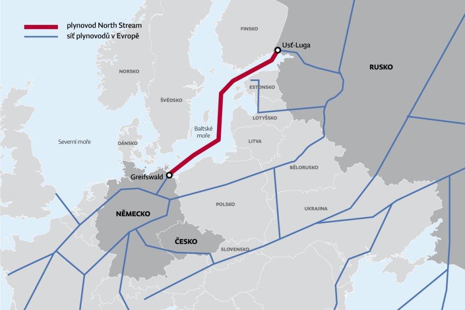 Mapa plynovodů vEvropě. Mapa: DeníkN