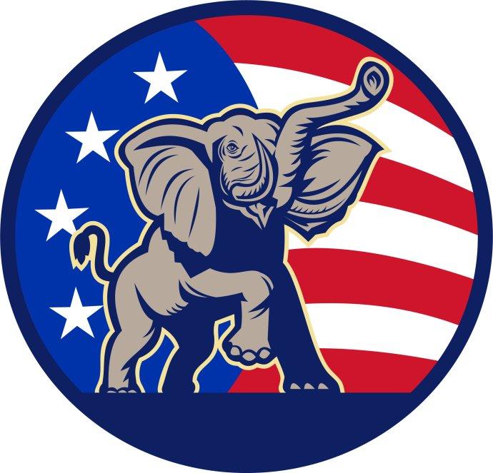 """Slon, symbol americké """"Velké staré strany"""", Republikánské strany. Foto:Adobe Stock"""