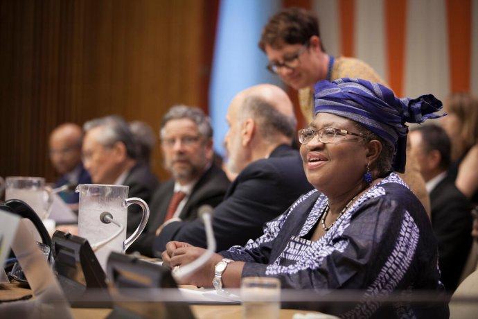 Nastupující generální ředitelka WTO, bývalá nigerijská ministryně financí Ngozi Okonjo-Iwealaová při jednání OSN ovšeobecném zdravotním pojištění vzáří 2019. Foto:Ariana Lindquistová, UN Photo, OSN