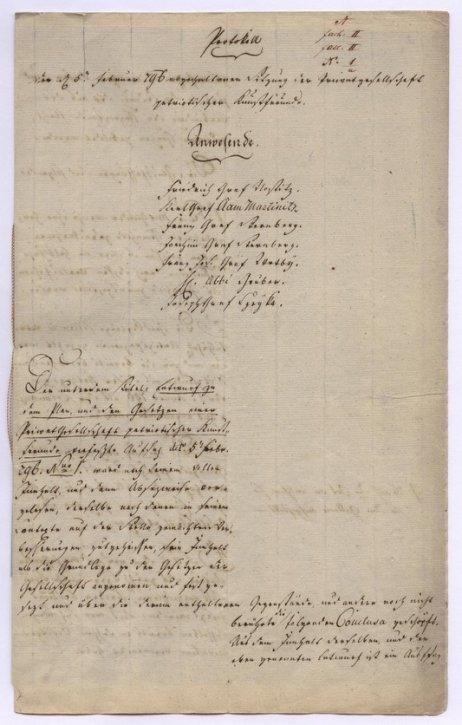 Protokol ze schůze Společnosti vlasteneckých přátel umění z5.února 1796. Foto:Archiv NGP