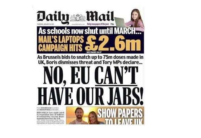 Titulní strana Daily Mail ze čtvrtka 28.1. 2021. Zdroj: Daily Mail