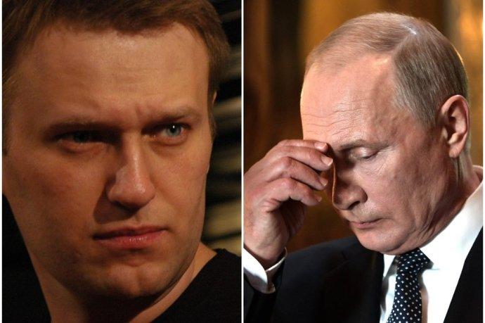 Podle tiskového oddělení Kremlu prezident Putin soud se svým hlavním sokem Navalným nesledoval. Určitě na něj ale myslel. Foto: koláž Deník N