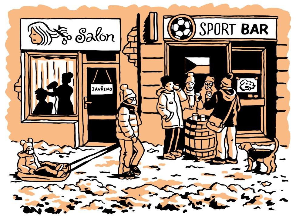 Pandemie vČesku. Ilustrace: Petr Polák pro DeníkN