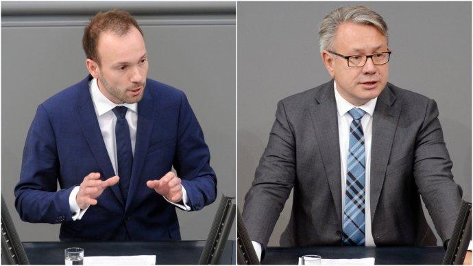 Poslanci německého Bundestagu za CDU/CSU Nikolas Löbel aGeorg Nüßlein vroce 2018. Foto:Achim Melde, Bundestag