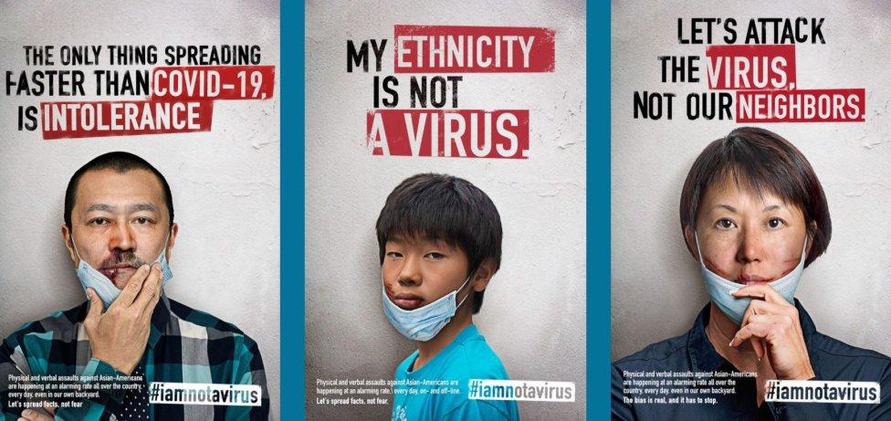 Bouřlivým apelem #BlackLivesMatter začalo už loni nesměle probleskovat jiné heslo: #StopAsianHate. Stop nenávisti vůči Asiatům. Teď nabírá na síle. Asním kampaň #IamNotAVirus, #NejsemVirus. Foto:iamnotavirus.info