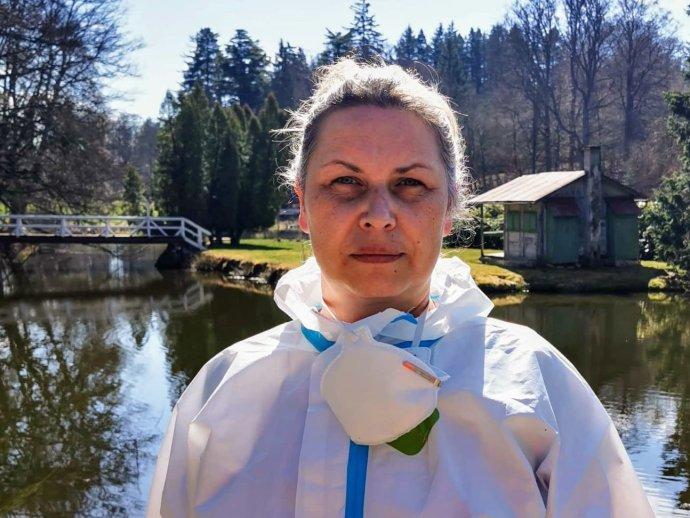 Václava Markgrafová v pracovním skafandru. Foto: Archiv Václavy Markgrafové